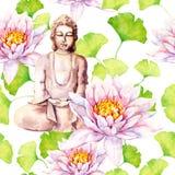 Buddha con loto, foglie, progettazione decorativa Reticolo senza giunte watercolor illustrazione di stock