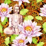 Buddha con loto, foglie, progettazione decorativa Reticolo senza giunte watercolor immagine stock libera da diritti