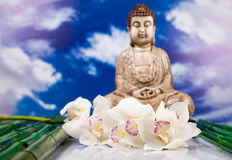 Buddha in Conceptual zen, vivid colors, natural tone Stock Images