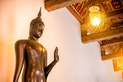 Buddha copper Statue in Buddhism church at Wat Benchamabophit temple Stock Photos
