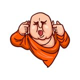 Buddha covered his ears and stuck out his tongue. Shut up symbol. stock illustration