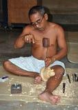 Buddha de cinzeladura de madeira, Mas Bali Indonésia Foto de Stock Royalty Free