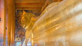 Buddha de descanso de oro grande Fotos de archivo libres de regalías