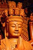 Buddha de madeira dourado Imagens de Stock Royalty Free