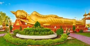 Buddha de reclinação Vientiane, Laos Panorama Fotografia de Stock