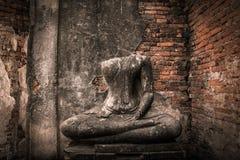 Buddha decay , THAILAND Ruins and Antiques at the Ayutthaya Historical Park.  Royalty Free Stock Photography