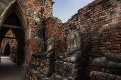 Buddha decay , THAILAND Ruins and Antiques at the Ayutthaya Historical Park.  Royalty Free Stock Images