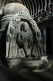 Buddha an der Höhle des Tischlers - Ellora Tempel Lizenzfreies Stockfoto