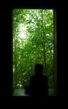 Buddha, der heraus das Fenster schaut Lizenzfreie Stockfotografie