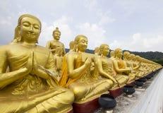 Buddha and disciple statues. Makabucha posture, Thailand Stock Photography