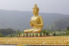 Buddha and disciple statues. Makabucha posture, Thailand Stock Images