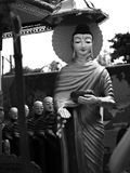 BUDDHA AND DISCIPLES. BLACK AND WHITE PHOTO OF BUDDHA AND DISCIPLES Royalty Free Stock Photography