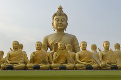 Buddha and disciples. In the historical park, Thailand Stock Image