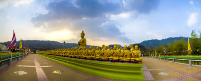 Buddha and disciples. Panorama image of Buddha and disciples in the historical park, Thailand Royalty Free Stock Images