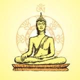 Buddha disegnato a mano nella meditazione illustrazione vettoriale