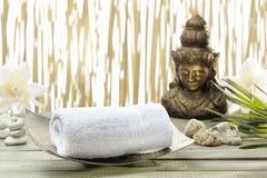 Buddha dorato, asciugamani Immagine Stock