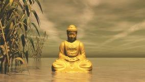 Buddha dourado - 3D rendem Foto de Stock Royalty Free