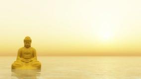 Buddha dourado - 3D rendem Fotos de Stock Royalty Free