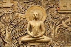 Buddha drewniany cyzelowanie Obraz Stock