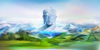 Buddha e montagne, paesaggio di vettore Immagine Stock