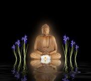 Buddha en jardín del zen Fotos de archivo libres de regalías