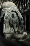 Buddha en la cueva del carpintero - templo de Ellora Foto de archivo libre de regalías