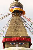 Buddha Eyes. At an Tibetan Stupa in Kathmandu, Nepal royalty free stock photo