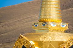 Buddha eyes, also known as wisdom eyes on a stupa in China. Buddha eyes, also known as wisdom eyes on a stupa in China stock photo