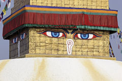 Buddha eyes on a Bodhnath stupa Stock Photos
