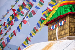Buddha eyes at Bodhnath stupa Stock Image