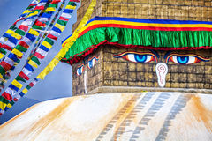 Buddha eyes at Bodhnath stupa Stock Photo