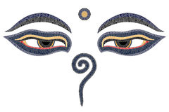 buddha eyes nepal royaltyfri illustrationer