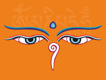Buddha eyes or Wisdom eyes - holy religious symbol Royalty Free Stock Image
