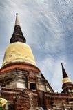 Buddha för forntida tempel och statyav Ayutthaya Thailand Arkivfoton