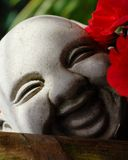 Buddha Face. And pretty red flower Royalty Free Stock Photo
