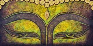 Buddha face acrylic painting stock photo