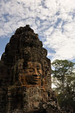 Buddha Face Carving under the blue sky Royalty Free Stock Photography