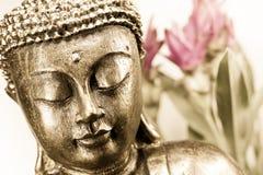 Buddha face. Golden buddha face close up Royalty Free Stock Image