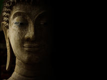 Buddha face with light and shadow. royalty free stock photos