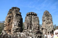 Buddha faces in Angkor Wat royalty free stock image