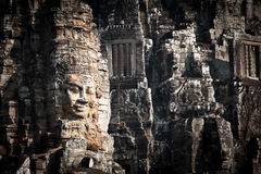Buddha faces of Bayon temple at Angkor Wat. Cambodia Royalty Free Stock Photo