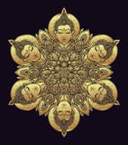 Buddha faces in ornate mandala round pattern. Esoteric vintage v Stock Photos