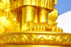 Buddha feet. Golden Buddha in public Buddha& x27;s park Trat province Thailand Royalty Free Stock Images
