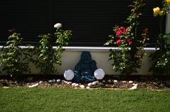 Buddha felice si è illuminato dalla luce di Dawn Surrounded By Precious Roses Arte, religione, felicità fotografia stock libera da diritti