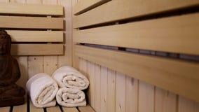 Buddha figure in finnish sauna stock video