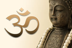 Buddha figure and om symbol Stock Photos