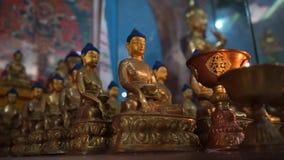 Buddha figures in buddhist temple in elista. Kalmykia. Central Khurul stock video footage