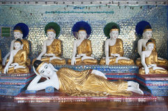 Buddha figures in shwedagon pagoda of yangon myanmar Stock Images