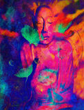 Buddha and flower, abstract background. computer. Collage painting. Religion concept Royalty Free Illustration