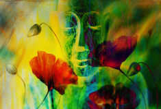 Buddha and flower, abstract background. computer. Collage painting. Religion concept Vector Illustration